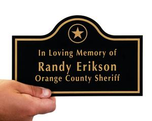Engraved memorial plaque