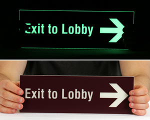 Custom glow in the dark exit sign