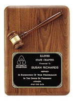 Custom Gavel Black Walnut Wooden Award Plaque
